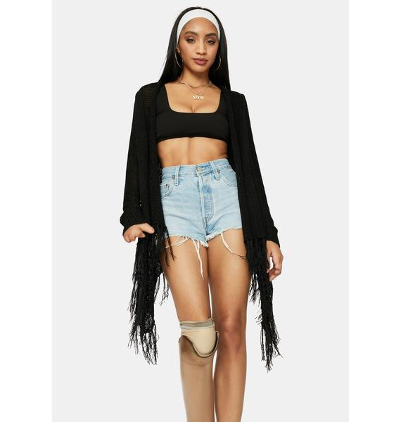 Catch The Wind Open Front Fringe Cardigan