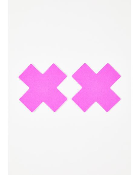 Neon Purple Cross Pasties