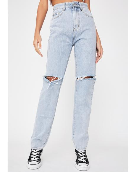 Slashed Knee Straight Leg Jeans