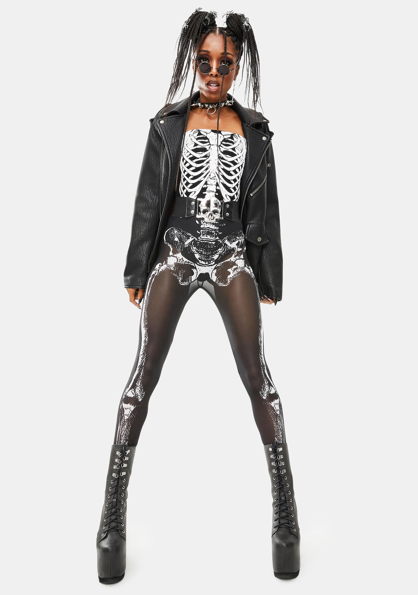 Dolls Kill Skeletal Sass Mesh Leggings