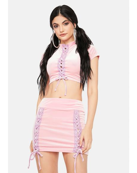 Modern Angel Velour Mini Skirt
