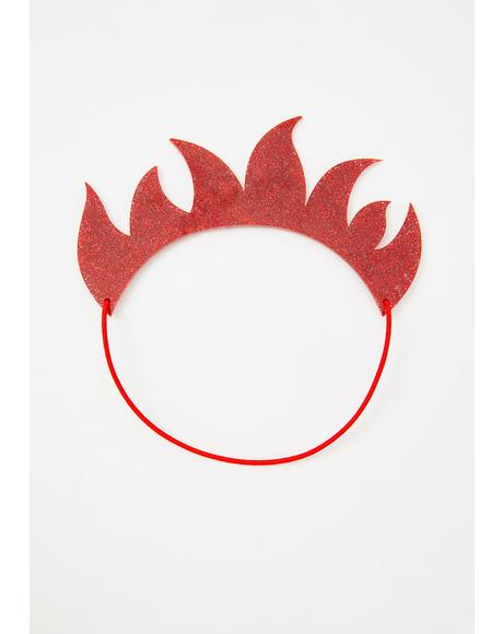 Red Glitter Perspex Flame Crown