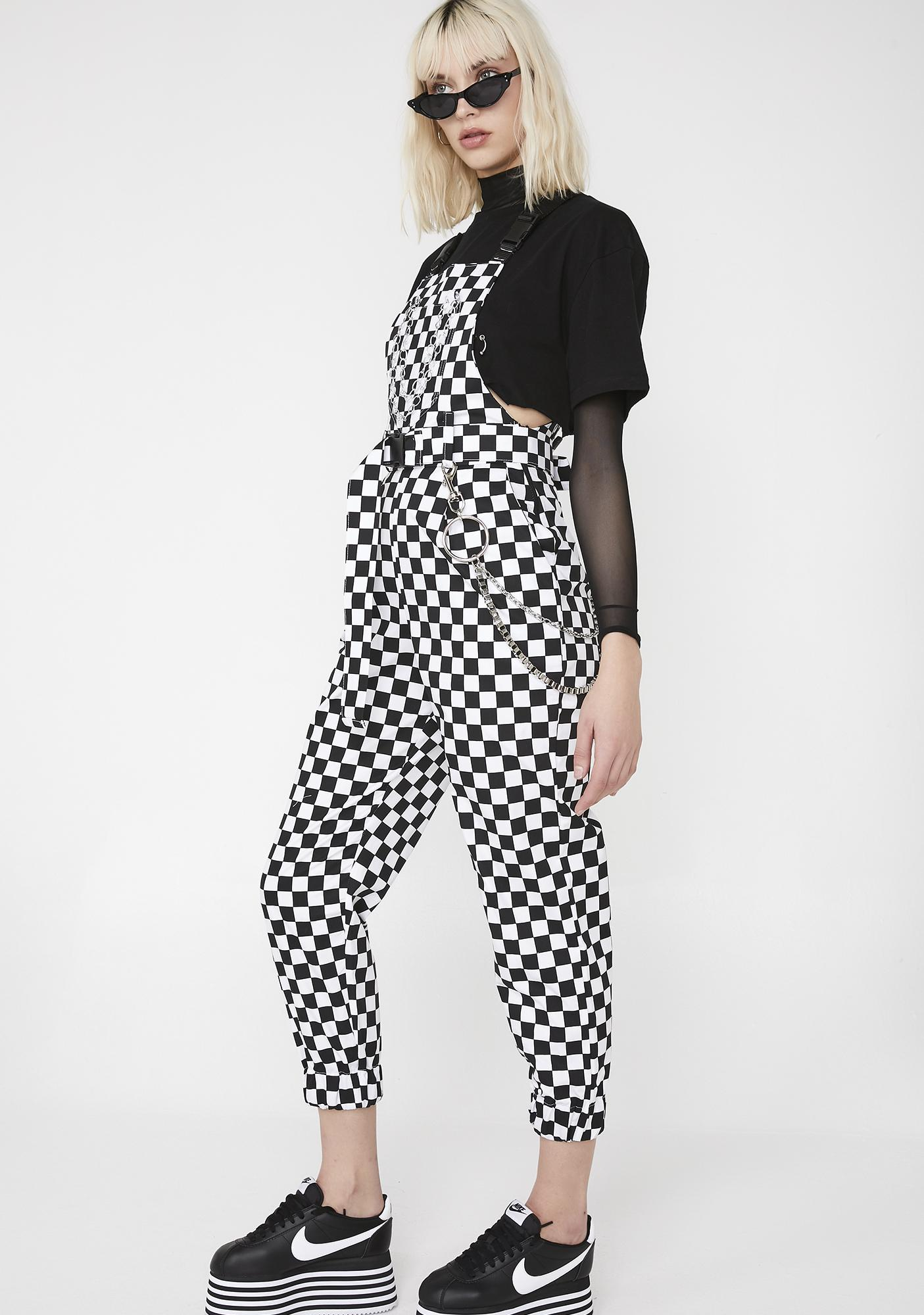 LOVE TOO TRUE Checkerboard Dungarees