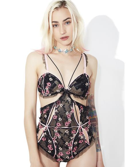 Peony Embroidery Bodysuit