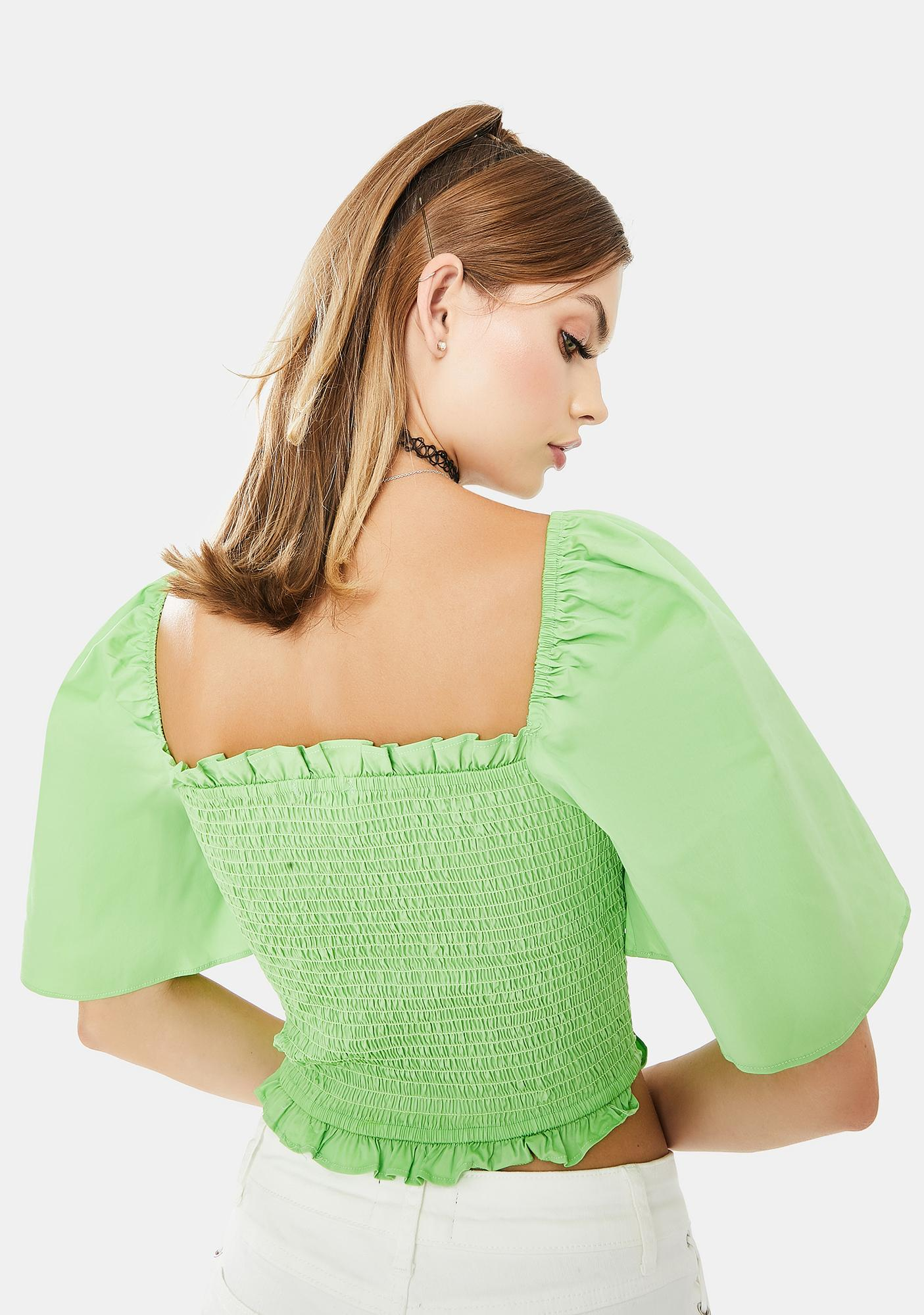 Glamorous Green Puff Sleeve Crop Top