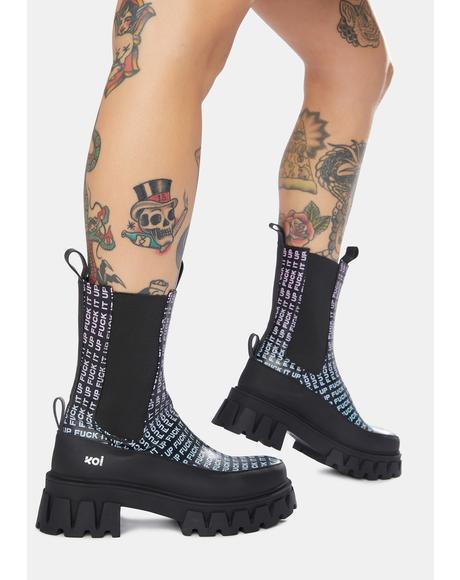 F It Up Combat Chelsea Boots