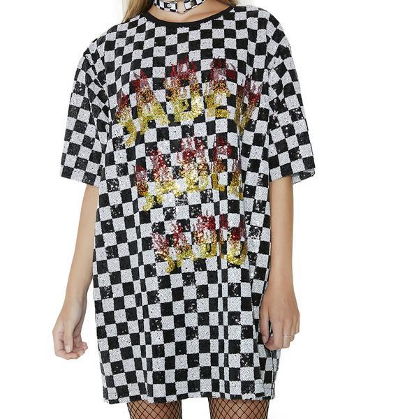 Jaded London Sequin Checkerboard Dress