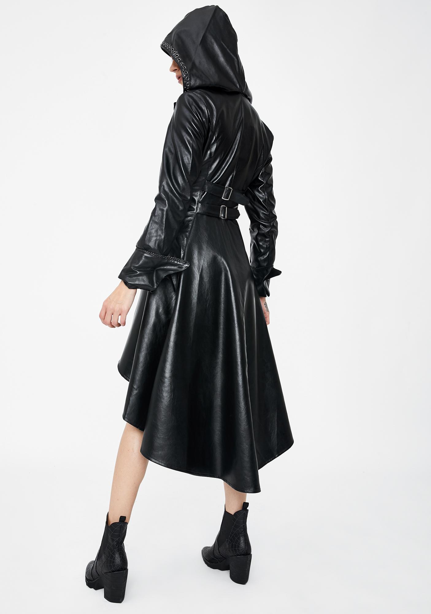 Dark In Love Long Vegan Leather Cocktail Jacket
