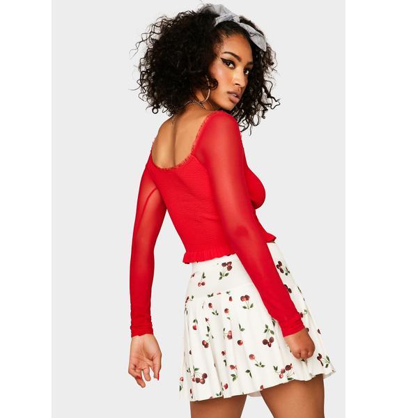 Cherry Berry Meringue Off Shoulder Top
