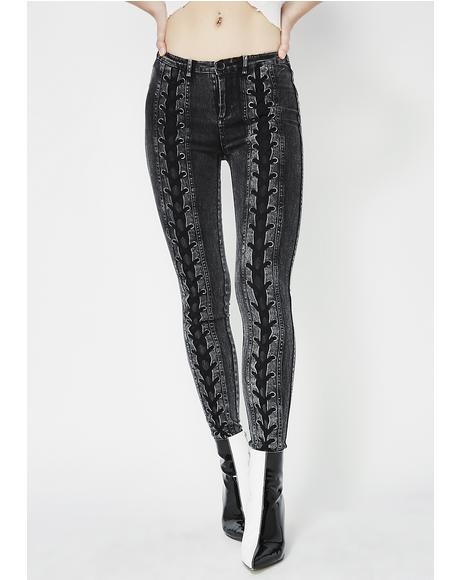 Double Take Lace-Up Jeans