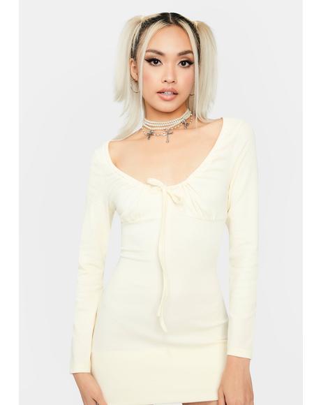 Cream Fresh Bouquet Mini Dress