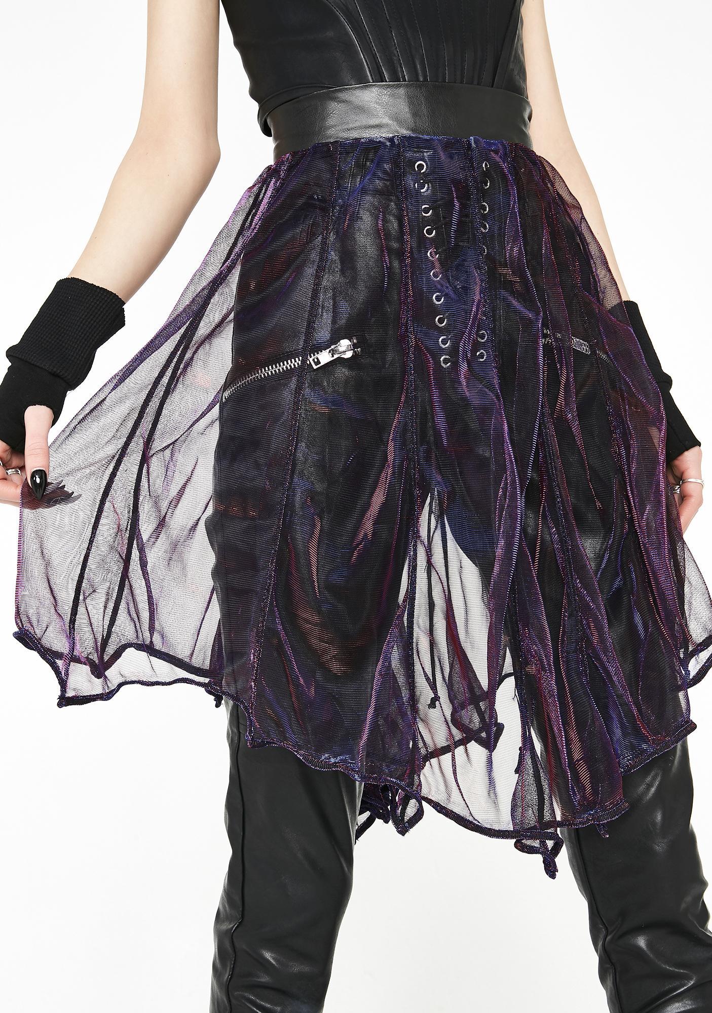 Necessary Evil Minyades Iridescent Bat Skirt