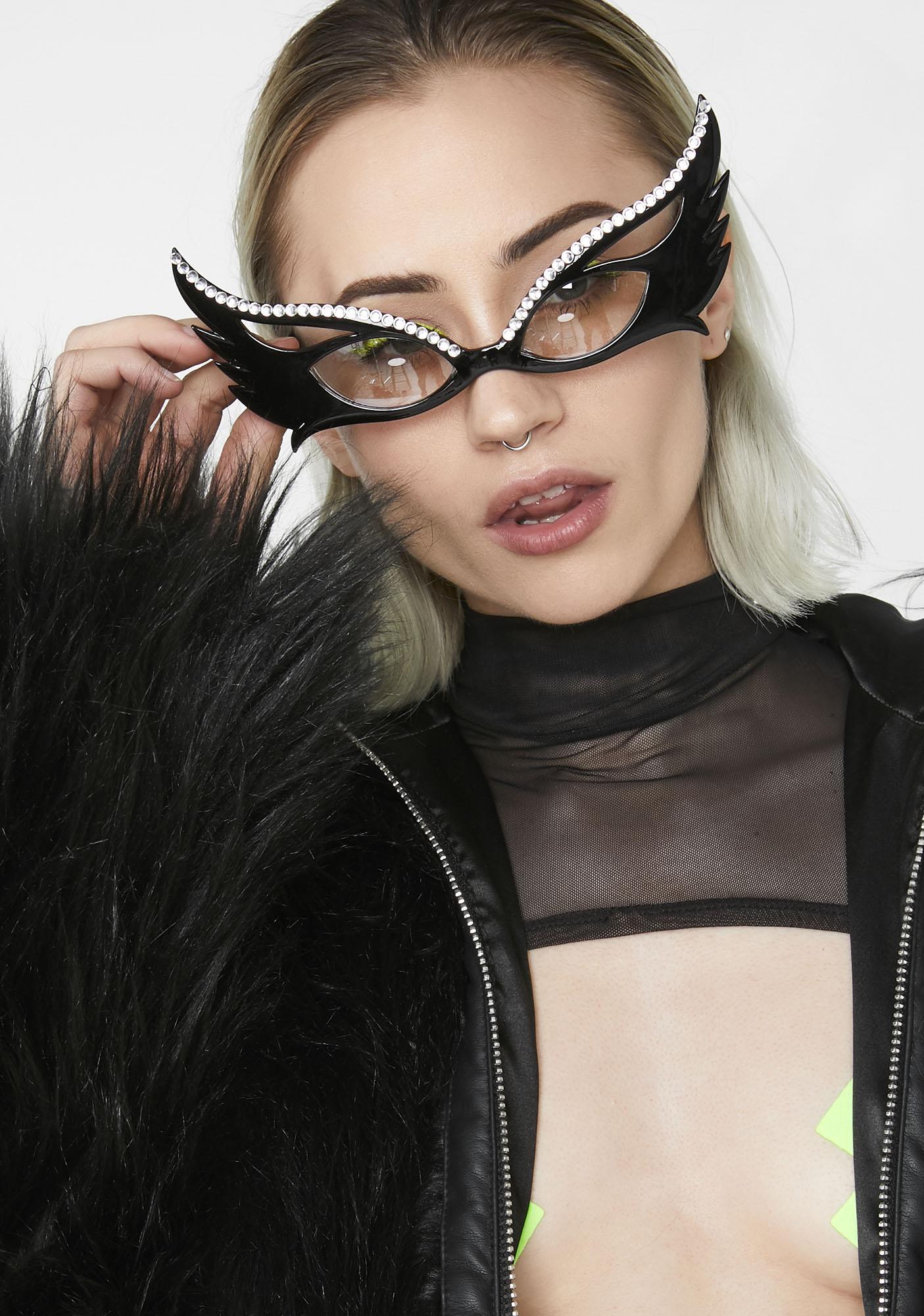 Giant Vintage Bunny Rhinestone Sunglasses