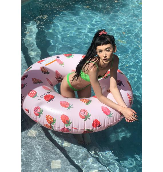 FUNBOY Pink Strawberry Pool Float Innertube