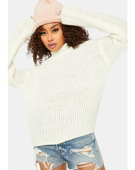 Snowflakes Dream Turtleneck Knit Sweater