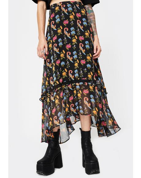 Chiffon Floral Black Maxi Skirt