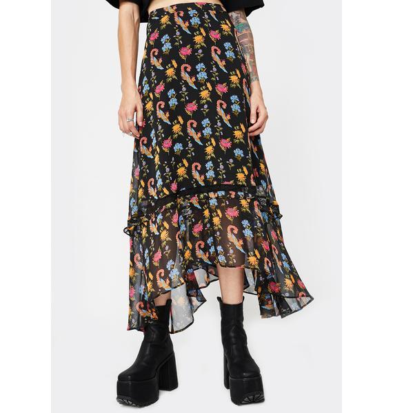 Glamorous Chiffon Floral Black Maxi Skirt