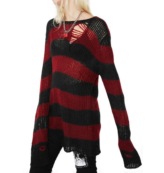 Current Mood Lost Cause Striped Sweater