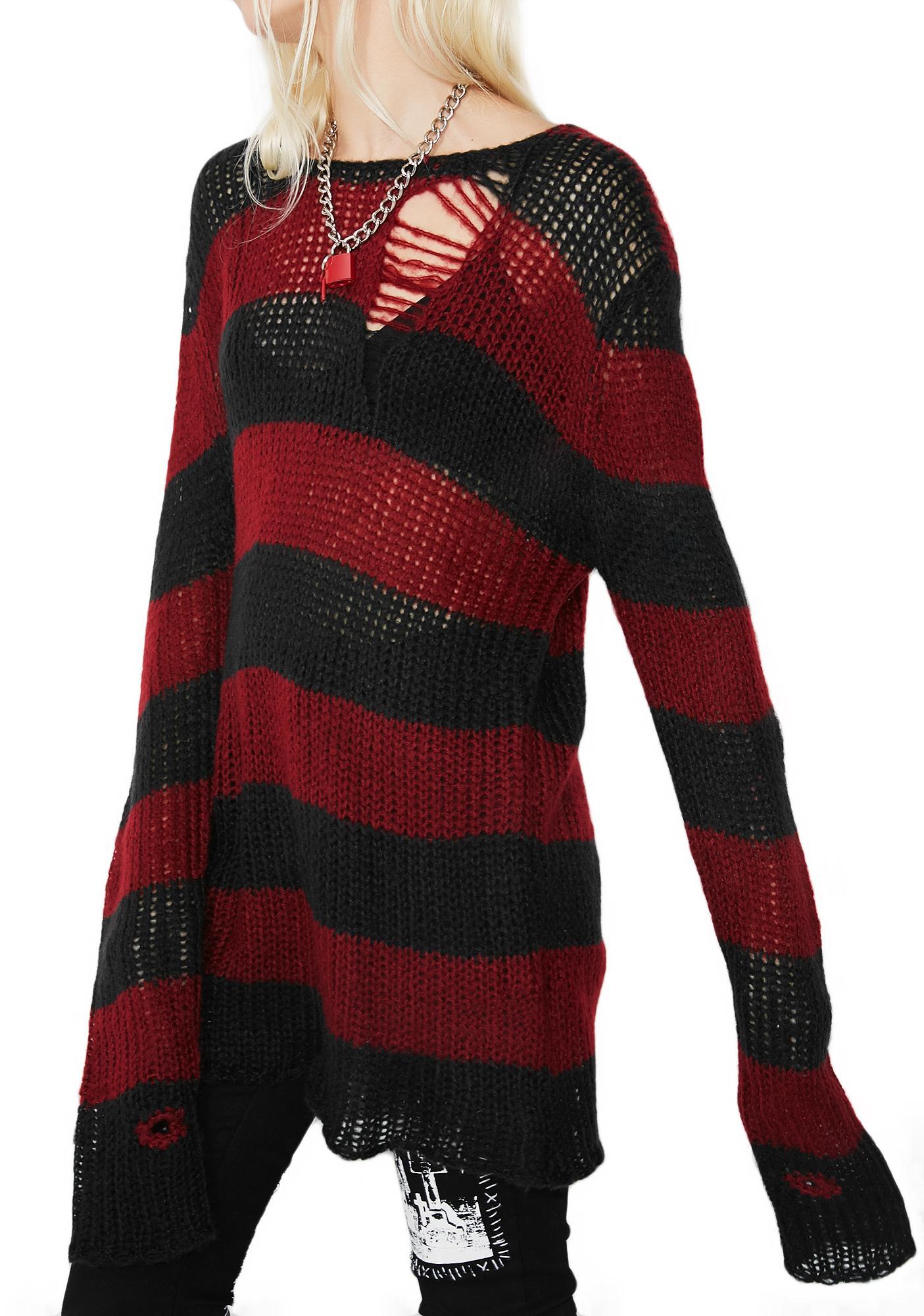 5f39eb5d9cb308 Current Mood Striped Distressed Sweater | Dolls Kill