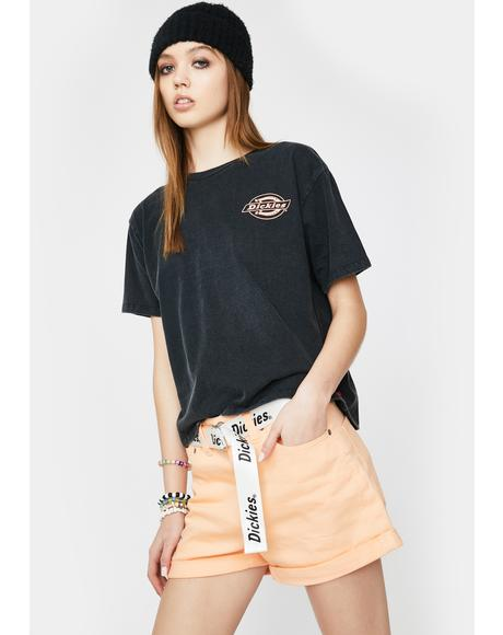 Apricot Rolled Hem Belted Shorts