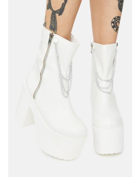 Boo It's Going Down Platform Chain Ankle Boots