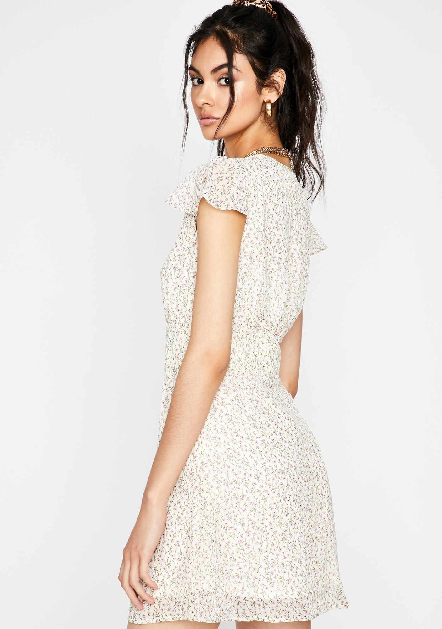 Cream Hopeful Romantic Floral Dress