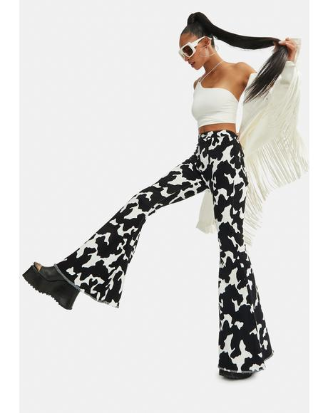 Causal Cow Print Bell Bottom Pants