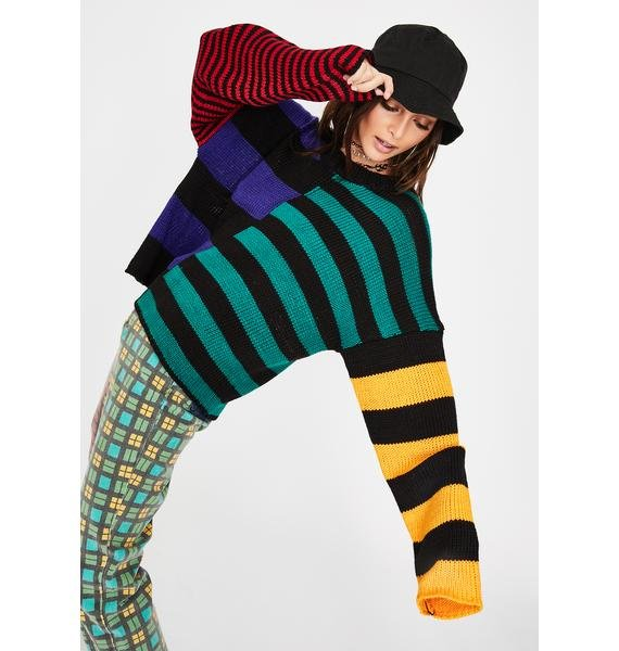The Ragged Priest Riot Striped Knit Sweater
