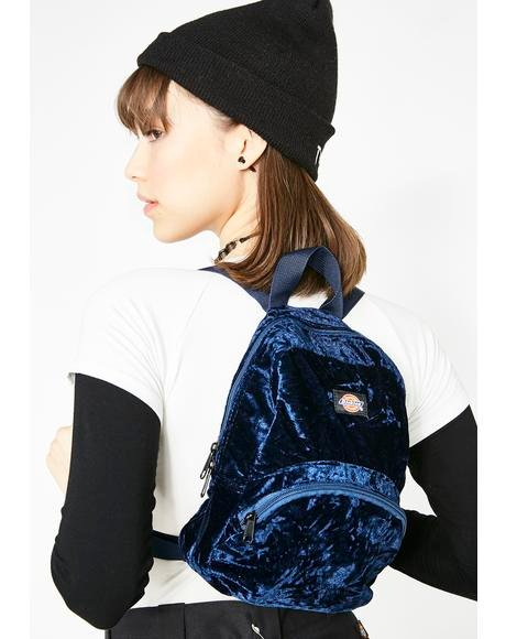 Berry Crushed Velvet Mini Backpack