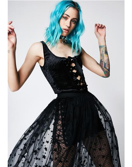 Velvet Crushin' Lace-Up Bustier