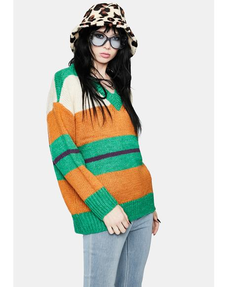 Emerald Foxy Fire Striped Sweater