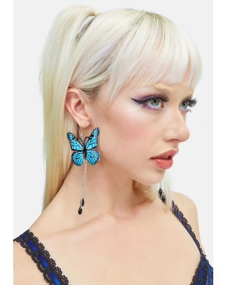 Blue Monarch Chain Drop Earrings