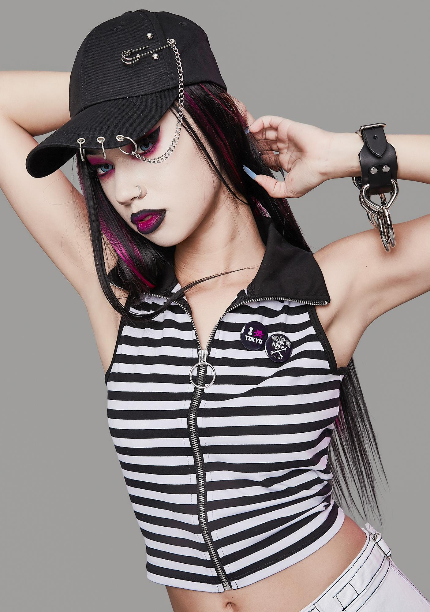 Widow Down And Out Striped Zip-Up Top