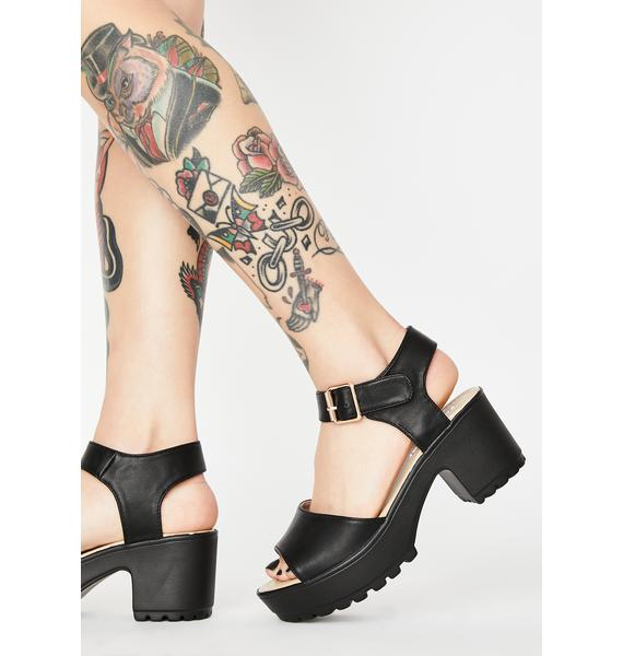 Koi Footwear Cleated Block Heel Platform Sandals