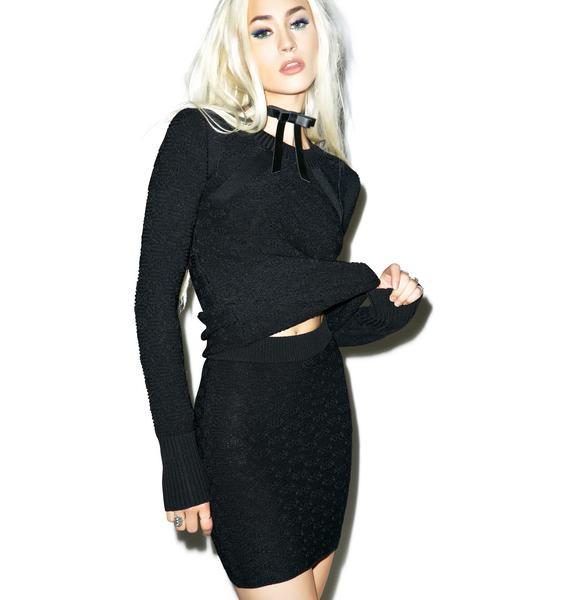 For Love & Lemons Dark Camilla Knit Skirt