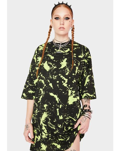 Paint Splatter Graphic Tee Dress