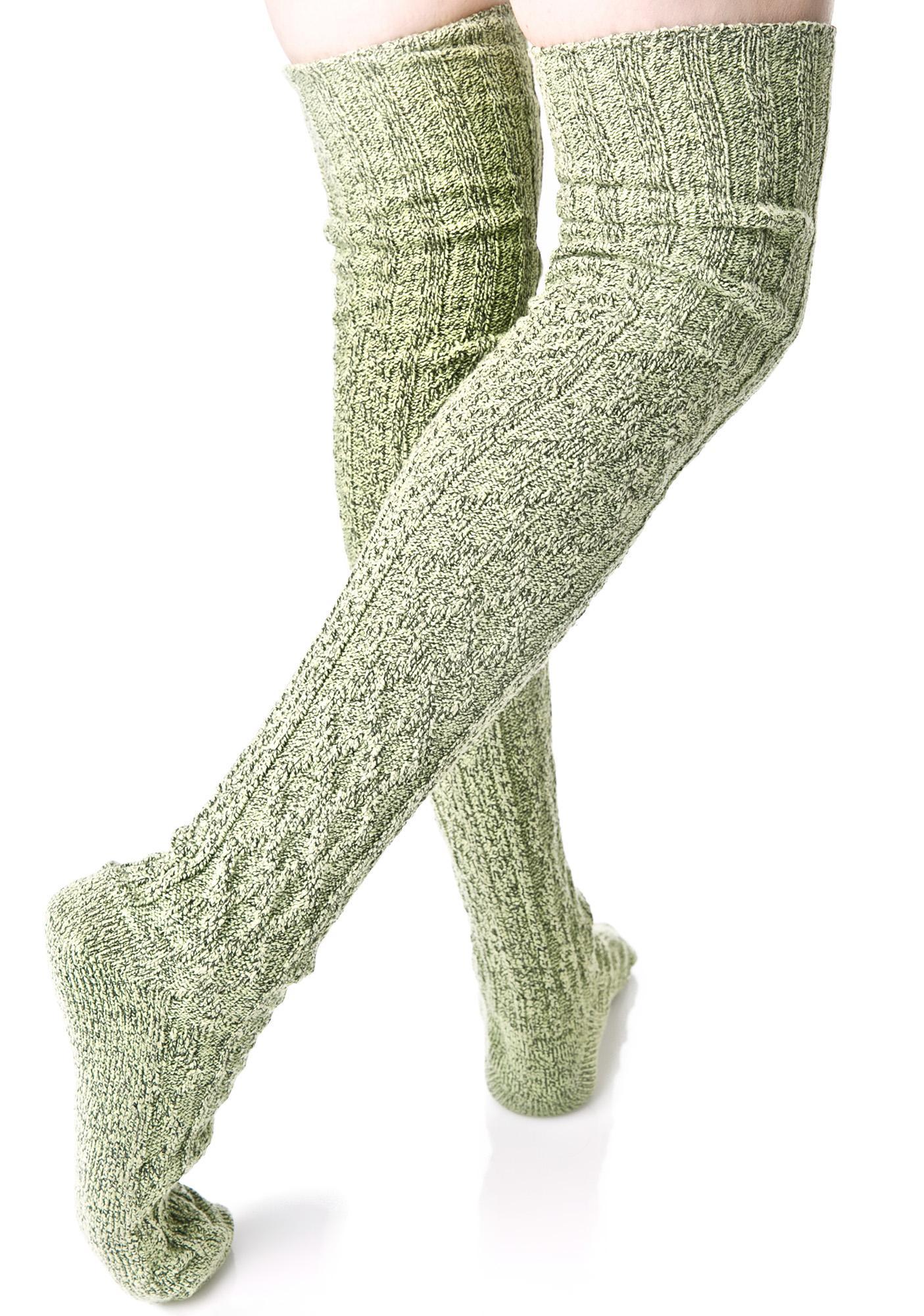 Thyme Thigh High Socks
