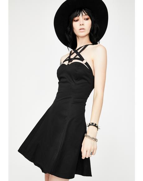 O- Ring Pentagram Strap Mini Dress