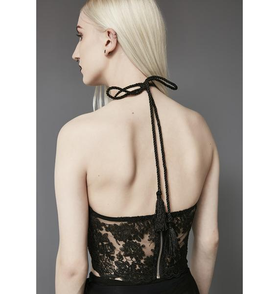 Widow Ritual Lace Halter Top