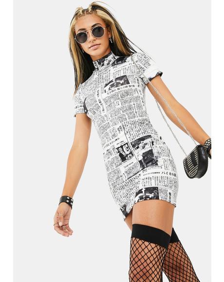 Newsprint Mini Dress