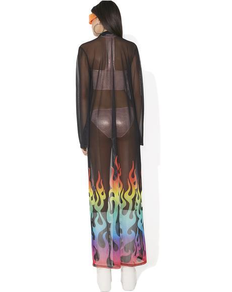 Rainbow Flame Maxi Kimono