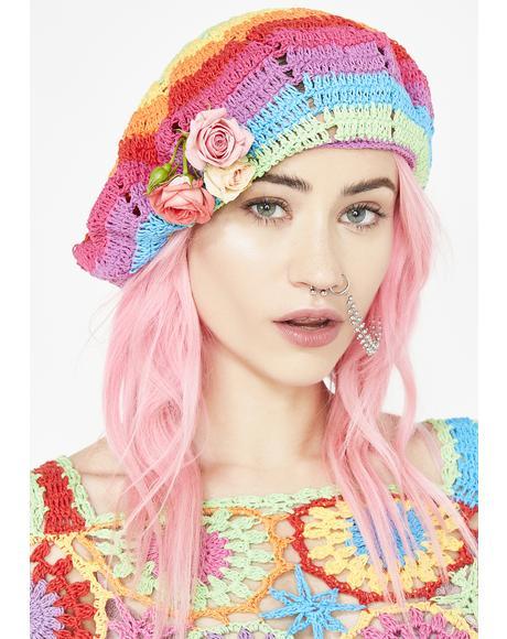 Rainbow Crochet Beret