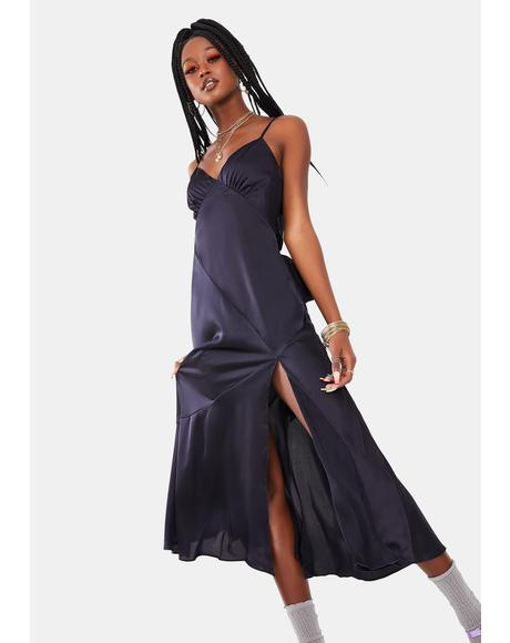 Satin Side Slit Maxi Dress