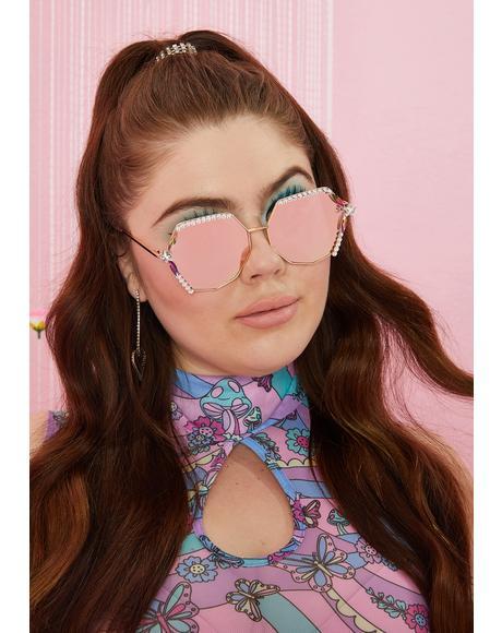 Old School Glamour Rhinestone Sunglasses