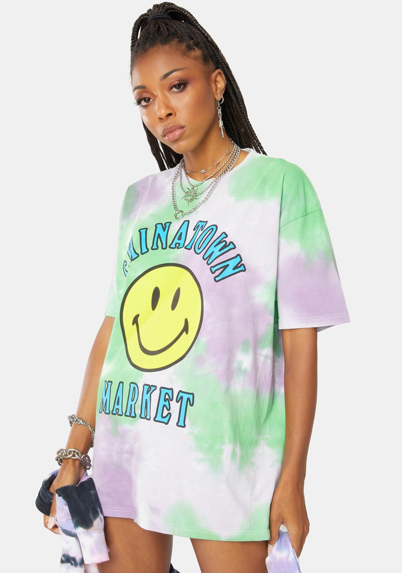CHINATOWN MARKET Smiley Multi Tie Dye Graphic Tee