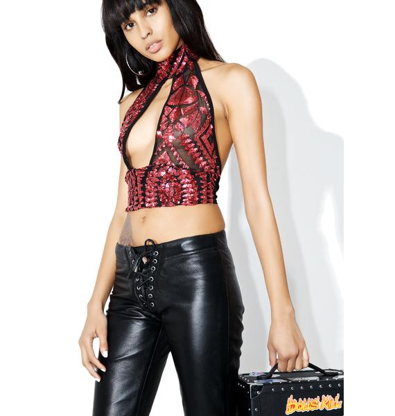 Ruby Showstopper Sequin Crop Top