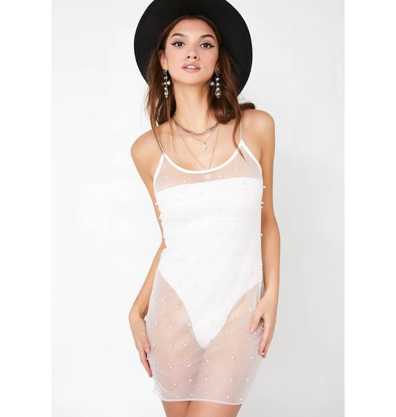 Naked Tiger Sheer Pearl Slip Dress
