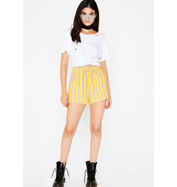 All Day Sunshine Striped Shorts