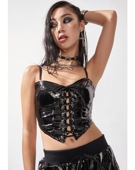 Bad Behavior Vinyl Corset Top