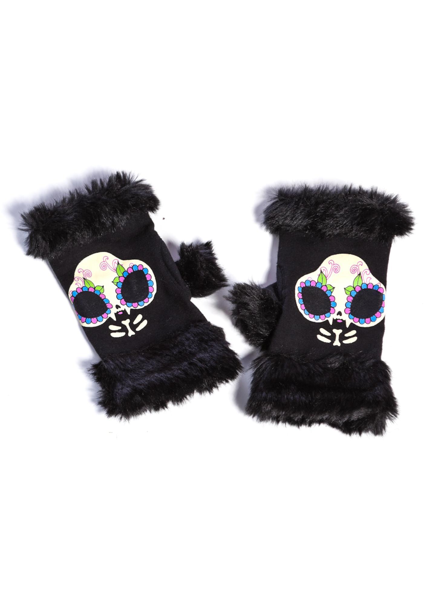 Too Fast Fur Trim Knit Kitty Gloves